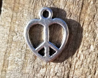 Silver Heart Shaped Peace Sign Charm 14mm Set of 10