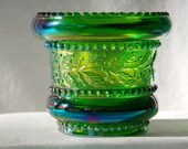 Joe St Clair Glass Beaded Holly Band Toothpick Holder in Hunter Green Carnival, Greentown Glass Reproduction, Rare, Scarce, Hard to Find - H
