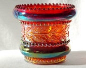 Summit Art Glass by Russ Vogelsong Beaded Holly Band Toothpick Holder in Amberina Carnival Glass, Greentown Glass Reproduction, Signed - H