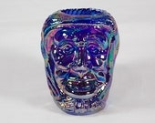 Joe St Clair Glass Old Lady Witch Head Iridescent Cobalt Blue Carnival Glass Toothpick Holder, Q-tip Holder, Rare, Scarce, Hard to Find - M