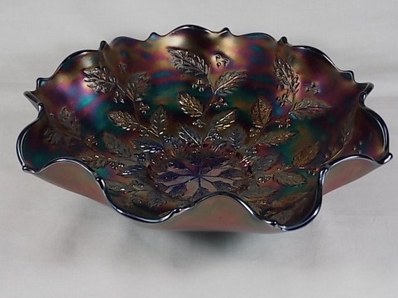 Art Glass Fenton Iridescent Blue Carnival Glass Holly Berries Ruffled Edge Compote Beautiful And Charming Fenton