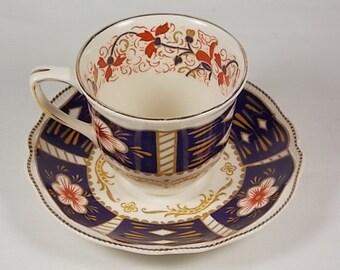 Johnson Bros. Demitasse Tea Cup & Saucer Set - Old Staffordshire Chatsworth Imari Pattern, Johnson Brothers, Rare, Scarce, Hard to Find - GA