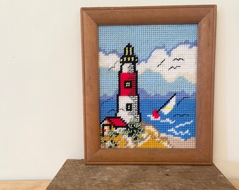 "Needlepoint Handpainted Christmas Needle Crossings Jupiter Lighthouse 4/"""