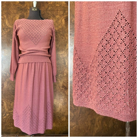 Vintage Knit Two Piece Sweater Set / M/L / Mauve K