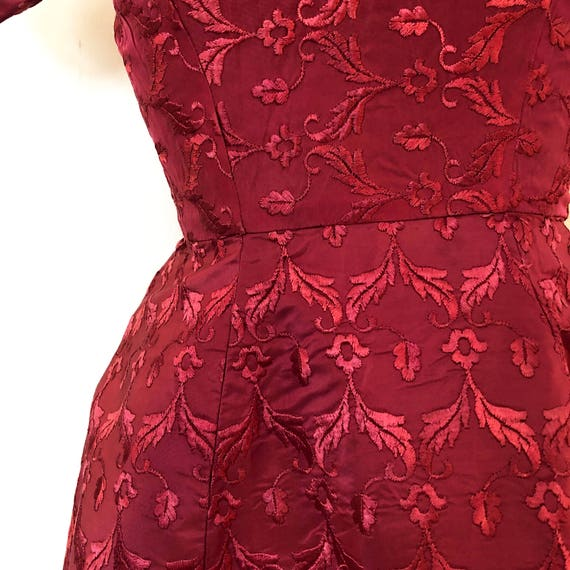 Vintage Pink Brocade Dress / Sm/Med / Boatneck Dr… - image 7