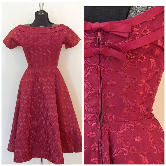 Vintage Pink Brocade Dress / Sm/Med / Boatneck Dr… - image 1