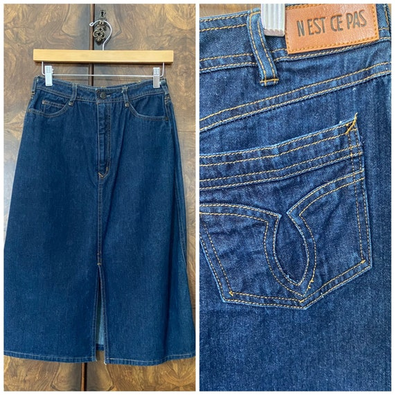 "Vintage 80s Denim Skirt / 27"" Waist / Nest Ce Pas - image 1"