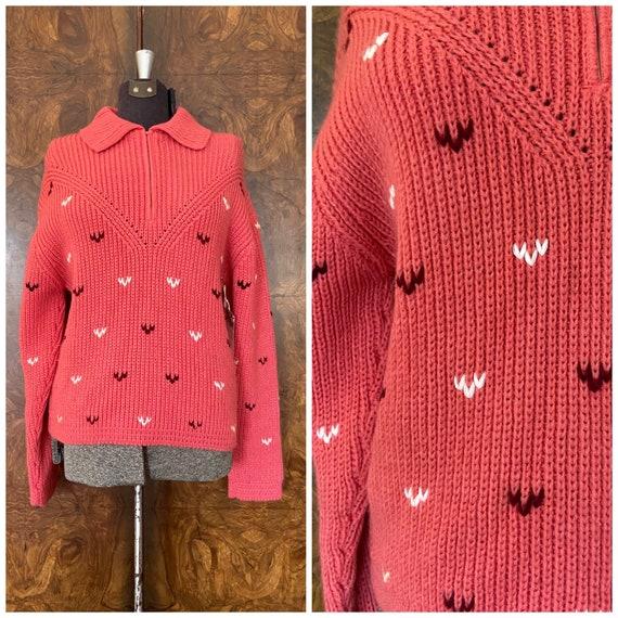 Vintage 1960's Ski Sweater / Med/Lg / White Stag S