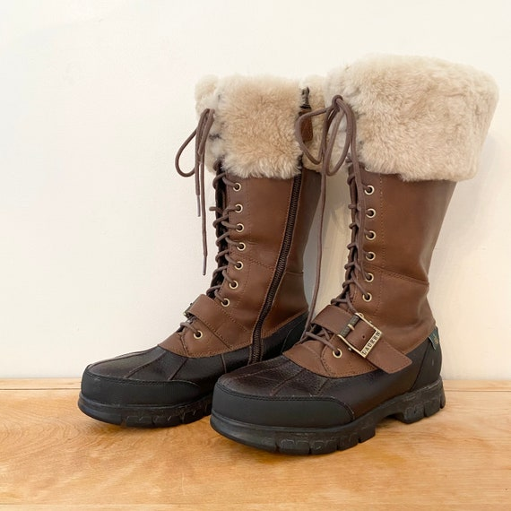 Vintage 1990s Ralph Lauren Shearling Boots / 9 Wom