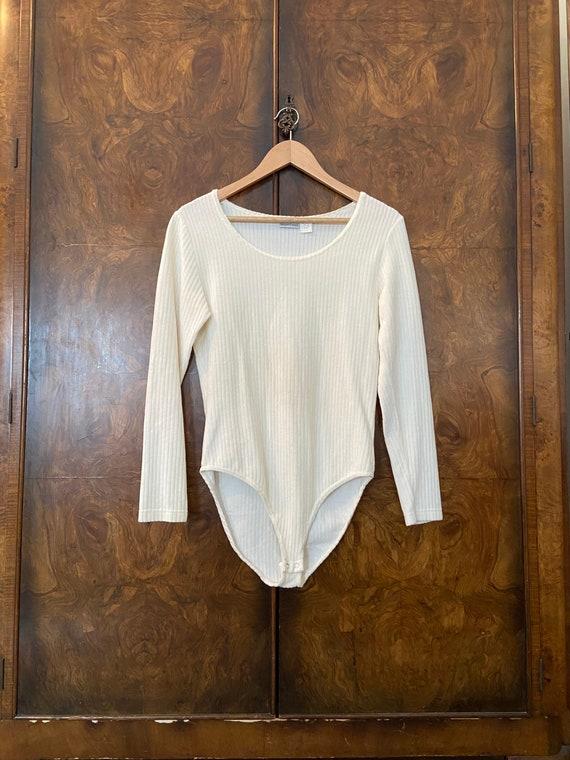 Vintage 1990s Ribbed Bodysuit / L / Cream Velour … - image 2