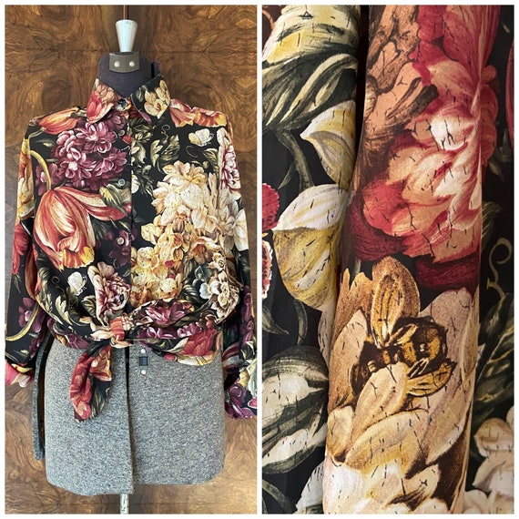 Vintage Silk Express Blouse / L/XL / Silk Floral 1