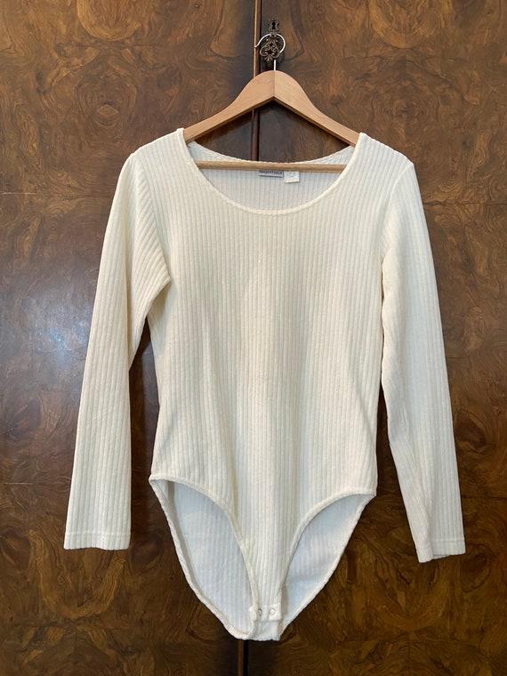 Vintage 1990s Ribbed Bodysuit / L / Cream Velour … - image 3