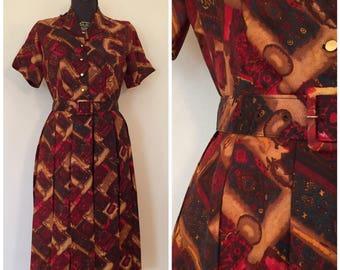 Vintage 1950s Dress / Med/Large / Haybrook Classic