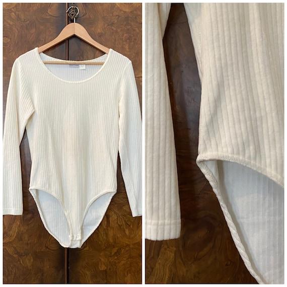 Vintage 1990s Ribbed Bodysuit / L / Cream Velour … - image 1