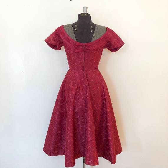 Vintage Pink Brocade Dress / Sm/Med / Boatneck Dr… - image 8