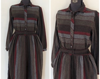 Vintage Wool Dress / Med/Large / Kenny Classics