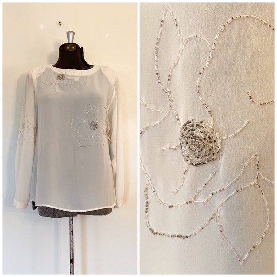 Vintage Beaded Blouse / Med/Lg / Shear Holiday Blo