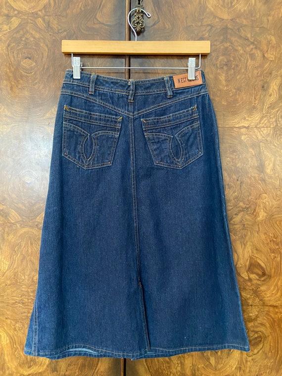 "Vintage 80s Denim Skirt / 27"" Waist / Nest Ce Pas - image 3"