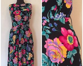 Black Floral Dress / Med/Large / Garden Party Dress