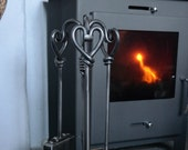 Heart Fire Companion Set - Fire Tools - 16 quot Fire Irons - Blacksmith Forged - Made in Cumbria