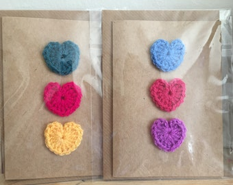 SALE Blank greetings cards with bright crochet hearts, pack of 2