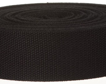 2 inch Cotton Webbing 2 yards Black 51mm-wide