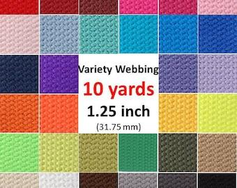Cotton Webbing 10 yards 1.25 inch You Pick Colors Key Fobs Belts Purse Bag Straps Leash