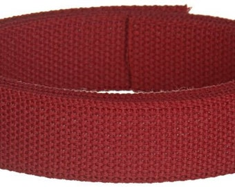 Cotton Webbing 1 yard 1.25 inch Wine Red Key Fobs Purse Bag Straps Handles