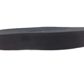 Cotton Twill Tape 100 yards 1 inch Wholesale Herringbone Straps Binding Black