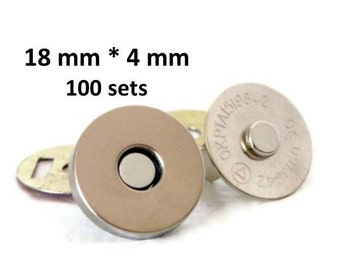 Magnetic Snaps 18mm 100 sets 4mm thick Nickel Plated