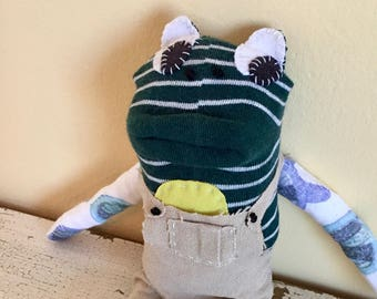 Frog Sock Animal Art Doll, hand-stitched, made from all reclaimed clothing, OOAK, plush softie, stuffed, rag doll, sustainable, up cycled