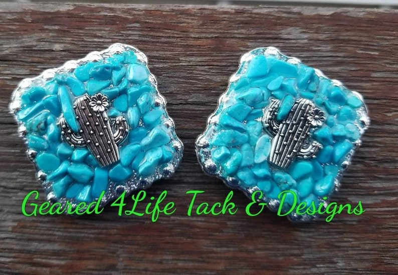 southwestern concho Faux Turquoise inlay Cactus concho tack leather working leather embellishment dyi belt horse equipment