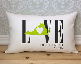 Virginia Love Pillow, Love Pillow, Wedding Pillow, Anniversary Pillow, Personalized Pillow, State Pillow, Virginia Pillow
