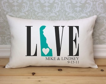 Delaware Love Pillow, Love Pillow, Wedding Pillow, Anniversary Love Pillow, Personalized Couples Pillow, Delaware State Pillow