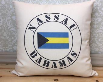 Nassau Bahamas Pillow, Bahamas Flag Pillow