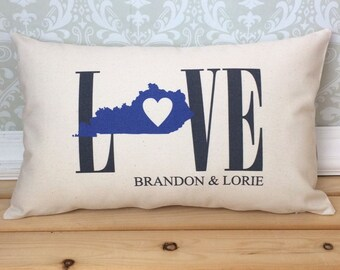 Kentucky Love Pillow, Love Pillow, Wedding Pillow, Anniversary Pillow, Personalized Pillow, State Pillow, Kentucky State Decor