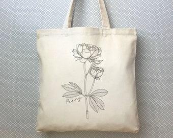 c4561bda0 Peony Tote Bag, Farmers market tote bag, Cotton Canvas Tote Bag, Peony  Floral Print Book Bag