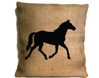 Horse Pillow, Horse Burlap Pillow, Horse Silhouette, Horse Decor, Western Decor, Ranch Decor, Rustic Home Decor, Horse Lover Gift