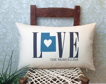 Utah Love Pillow, Love Pillow, Wedding Pillow, Anniversary Pillow, Personalized Pillow, State Pillow, Utah Pillow