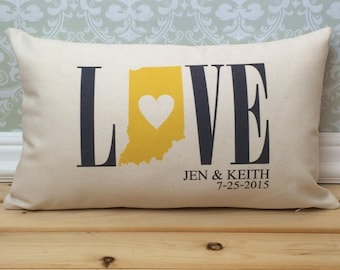Indiana Love Pillow, Love Pillow, Wedding Pillow, Anniversary Pillow, Personalized Pillow, State Pillow, Indiana State Decor