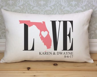 Florida Love Pillow, Love Pillow, Wedding Pillow, Anniversary Pillow, Personalized Pillow, State Pillow, Florida State Pillow, Florida
