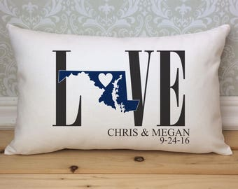 Maryland Love Pillow, Love Pillow, Wedding Pillow, Anniversary Pillow, Personalized Pillow, State Pillow, Maryland State Pillow