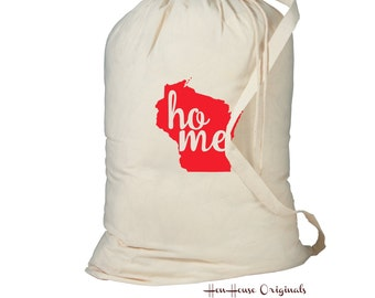 Laundry Bag, Wisconsin Laundry Bag, Laundry Hamper, Home State Laundry Bag, Dorm Room Storage Bag, College Student Gift, Laundry Storage