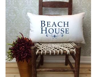 Beach Pillow, Beach House Pillow, Beach Decor, Lumbar Pillow, Cabin Pillow, Gift Pillow, Oblong Pillow, Nautical Pillow, Long Pillow