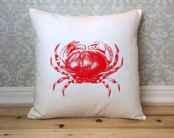 Crab Pillow Cover, Vintage Crab Art, Nautical Decor, Crab Print, Nautical Accessories, Nautical Cushion, Vintage Illustration