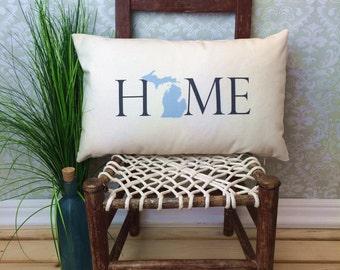 Michigan Pillow, Long Pillow, Home Pillow, State Pillow, Home Decor, House Warming Gift, House Warming Pillow, Custom Pillow, Lumbar