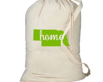 Laundry Bag, Nebraska Laundry Bag, Laundry Hamper, Home State Laundry Bag, Dorm Room Storage Bag, College Student Gift, Laundry Storage