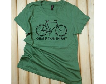 Bicycle T-Shirt, Bike Tee, Bicycle TShirt, Bicycle Shirt, Bike TShirt, Bike Shirt, Cheaper than Therapy, Funny Bike Shirt, Cycling Shirt