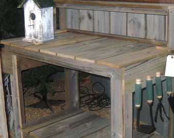Potting Table, Reclaimed Wood Potting Table, Potting Bench
