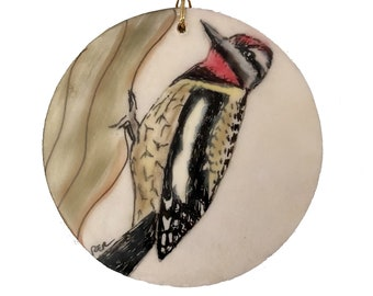 Yellow-Bellied Sapsucker Bird Encaustic Ornament - Birdtober | Inktober 2021 No. 18 of 31 - Beeswax Mixed-Media by Rachel Rivas-Plata